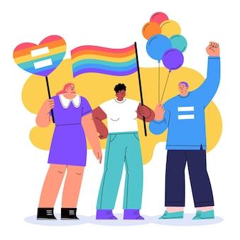 Hand getrokken stop homofobie concept