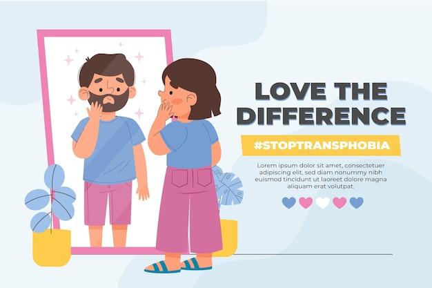 Hand getrokken stop transfobie concept illustratie