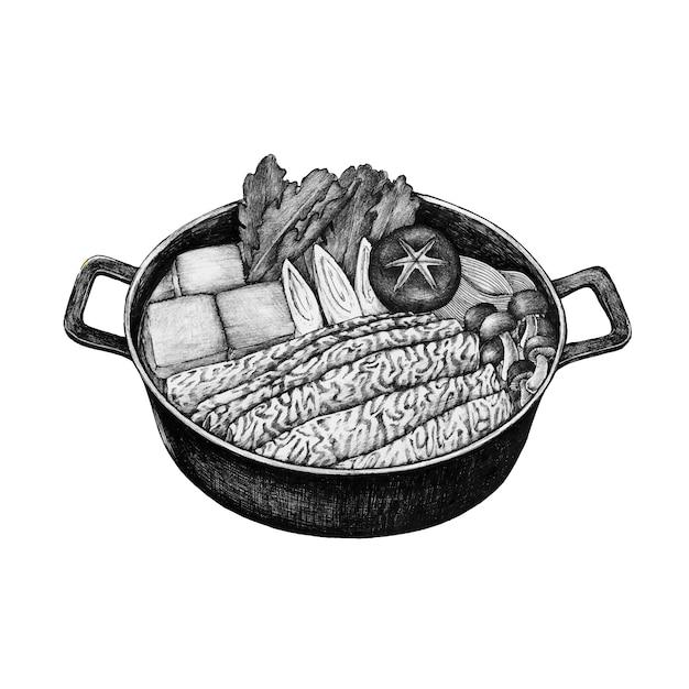 Hand getrokken sukiyaki japans gerecht