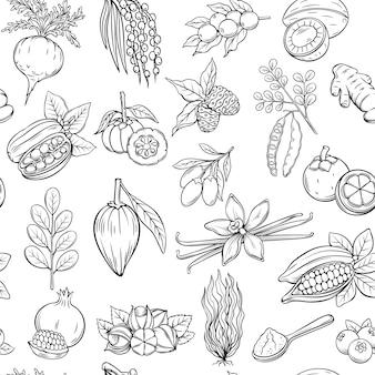 Hand getrokken superfood naadloos patroon.