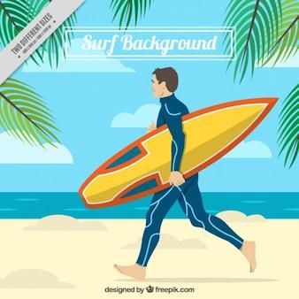 Hand getrokken surfer met zijn surfplank achtergrond