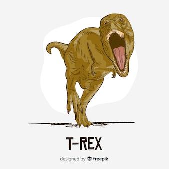 Hand getrokken t-rex achtergrond