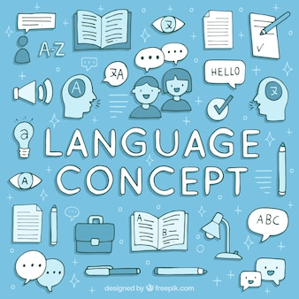 Hand getrokken talen concept