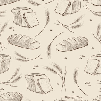 Hand getrokken tarwe en brood naadloos patroon