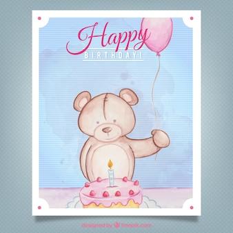 Hand getrokken teddy met een verjaardagstaart uitnodiging