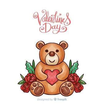 Hand getrokken teddybeer valentijnsdag achtergrond