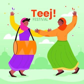 Hand getrokken teej festival viering illustratie