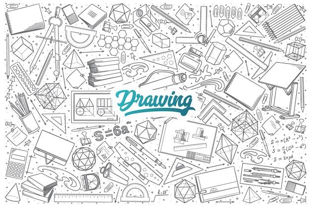 Hand getrokken tekening doodle set achtergrond met blauwe letters