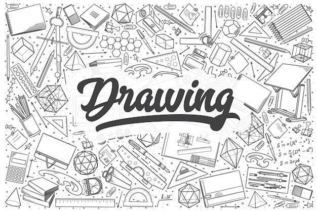 Hand getrokken tekening doodle set. belettering - tekening