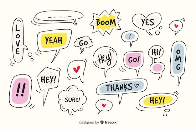 Hand getrokken tekstballonnen met verschillende uitdrukkingen