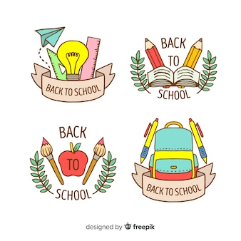 Hand getrokken terug naar school badge collectie