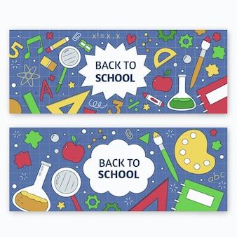 Hand getrokken terug naar school banners sjabloon