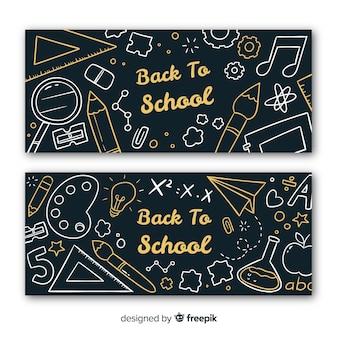 Hand getrokken terug naar school banners