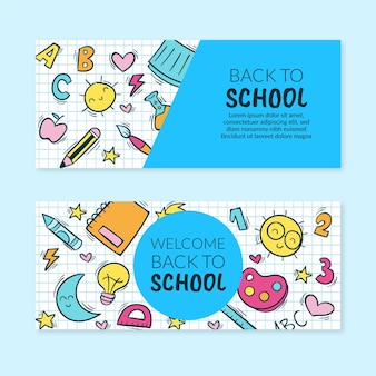 Hand getrokken terug naar school horizontale banners set