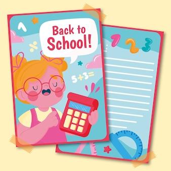 Hand getrokken terug naar school kaartsjabloon