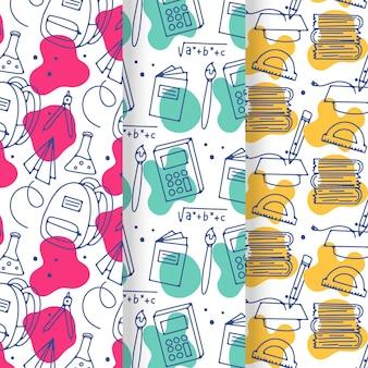 Hand getrokken terug naar school patroon collectie