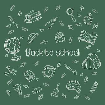 Hand getrokken terug naar school pictogrammenset in doodle stijl