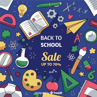 Hand getrokken terug naar school verkoop