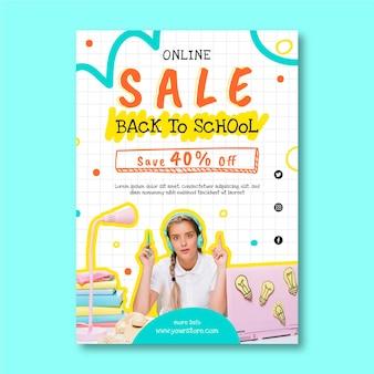Hand getrokken terug naar school verticale verkoop folder sjabloon met foto