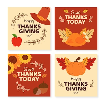 Hand getrokken thanksgivinb instagram postverzameling