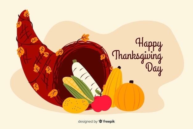 Hand getrokken thanksgiving achtergrond met pompoen