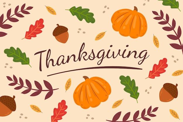 Hand getrokken thanksgiving achtergrond met pompoenen