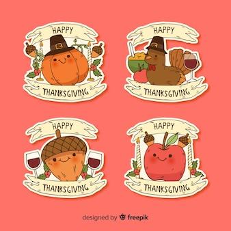 Hand getrokken thanksgiving badge collectie