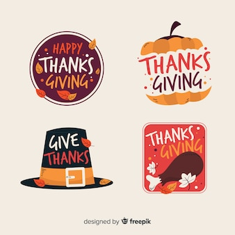 Hand getrokken thanksgiving badge collectie