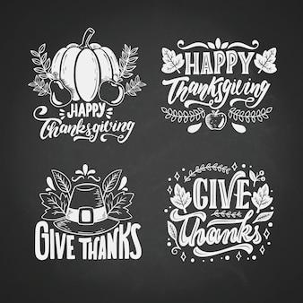 Hand getrokken thanksgiving badge-collectie