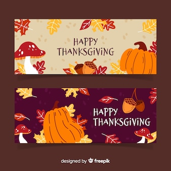 Hand getrokken thanksgiving banner set met pompoenen
