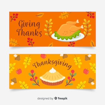 Hand getrokken thanksgiving banners sjabloon