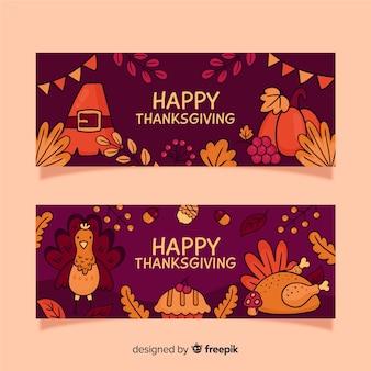 Hand getrokken thanksgiving banners