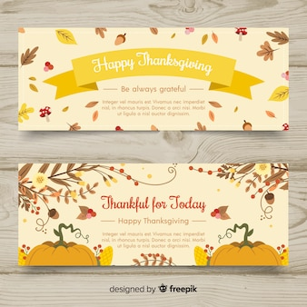 Hand getrokken thanksgiving day banner set
