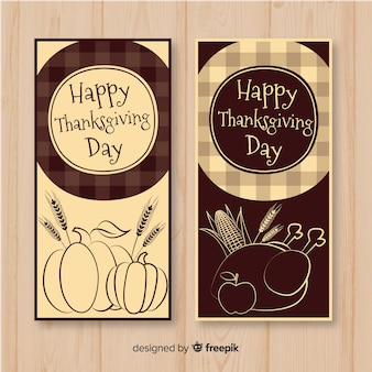 Hand getrokken thanksgiving day banner set