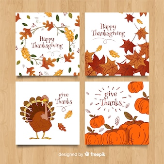 Hand getrokken thanksgiving day-kaartinzameling