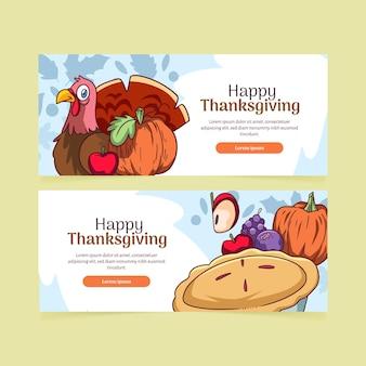 Hand getrokken thanksgiving horizontale banners set