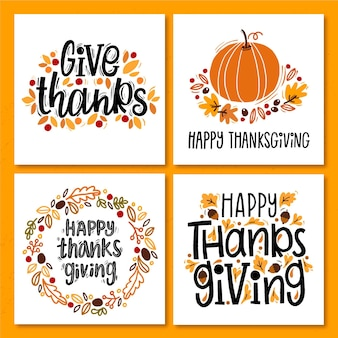 Hand getrokken thanksgiving instagram posts-collectie