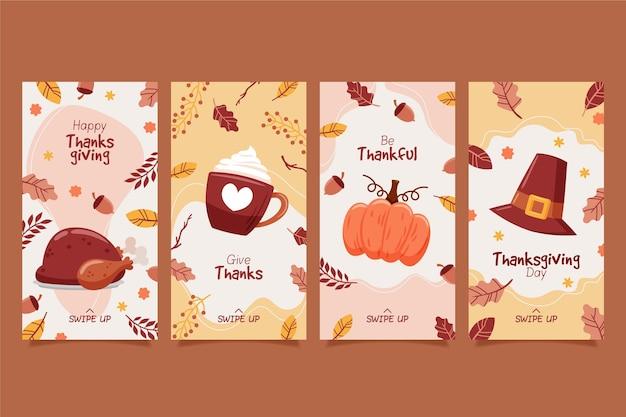 Hand getrokken thanksgiving instagramverhalen