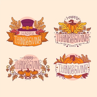 Hand getrokken thanksgiving label collectie