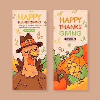 Hand getrokken thanksgiving verticale banners set