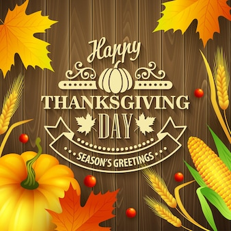 Hand getrokken thanksgiving wenskaart met bladeren, pompoen en spica op hout achtergrond. vectorillustratie eps 10