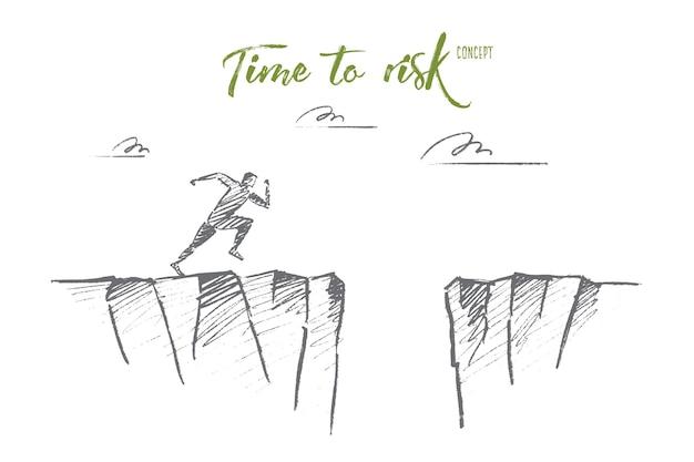 Hand getrokken tijd om concept schets te riskeren