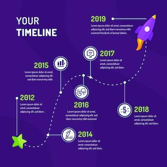 Hand getrokken tijdlijn infographic