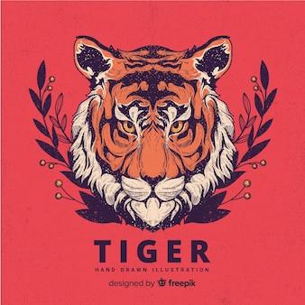 Hand getrokken tijger achtergrond