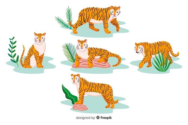 Hand getrokken tijger met bladeren collectie