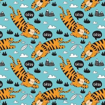 Hand getrokken tijger patroon achtergrond