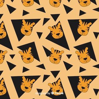 Hand getrokken tijger patroon