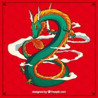 Hand getrokken traditionele chinese draak
