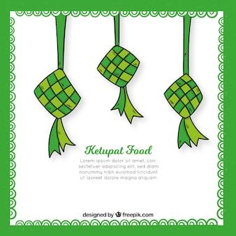 Hand getrokken traditionele ketupat samenstelling