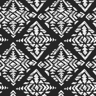Hand getrokken tribal naadloos patroon